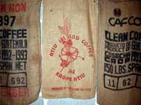 "The sacks of the coffee making the ""Atiu Coffee"" blend"